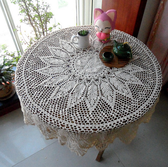 Christmas Beautiful Handmade Crochet Cotton Coffee Tablecloths Flowe Round Table  Cloth Cover Cloth Sofa Towel Home Textile