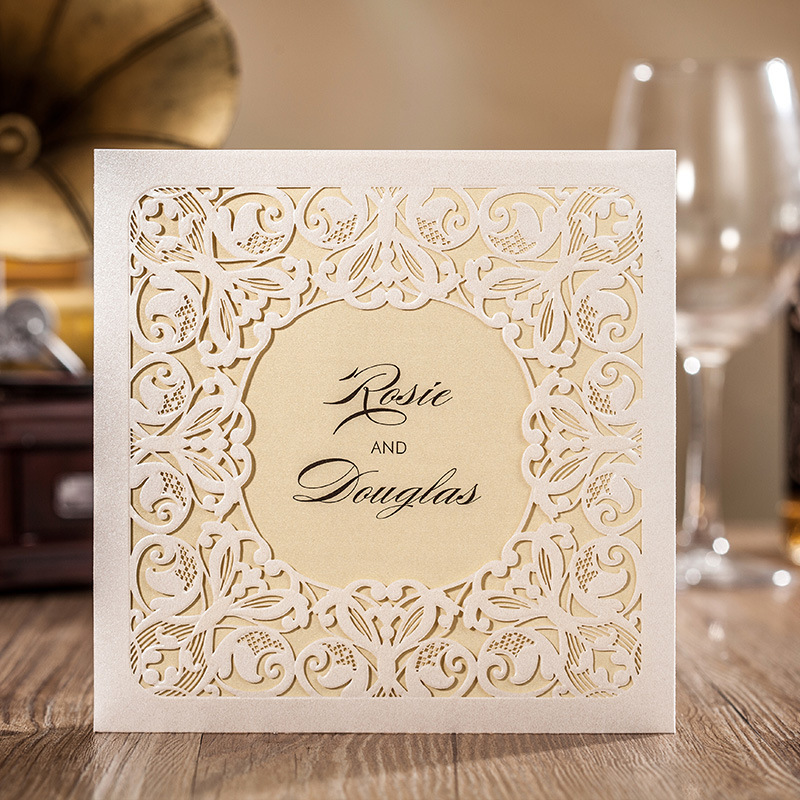 Laser Cut Wedding Invitations Cards White Flowers Invitation Card