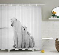 Ijsbeer Familie met Twee Kleine Welpen Rond Sneeuw Koude Winter Noorden Afbeelding Print, Polyester Stof Badkamer Douchegordijn