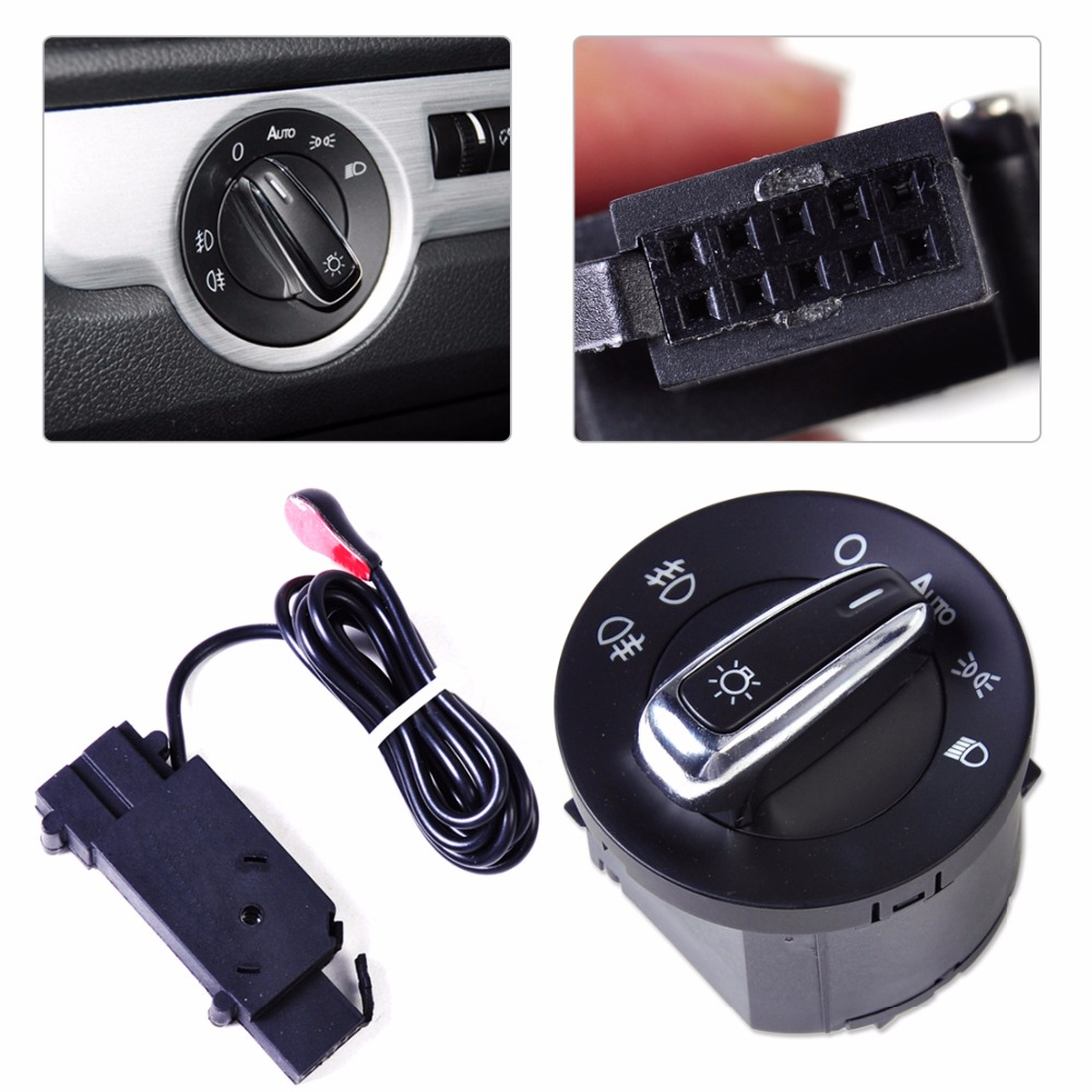 DWCX New Headlight Sensor + Chrome Switch Kit 5ND 941 431 B for Volkswagen Golf Jetta MK5 MK6 GTI 5 6 Tiguan Passat B6 Rabbit