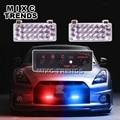 2X22 Flash LED Vermelho Luz Azul Farol Luz de Aviso De Emergência Strobe Light para o Carro Da Polícia