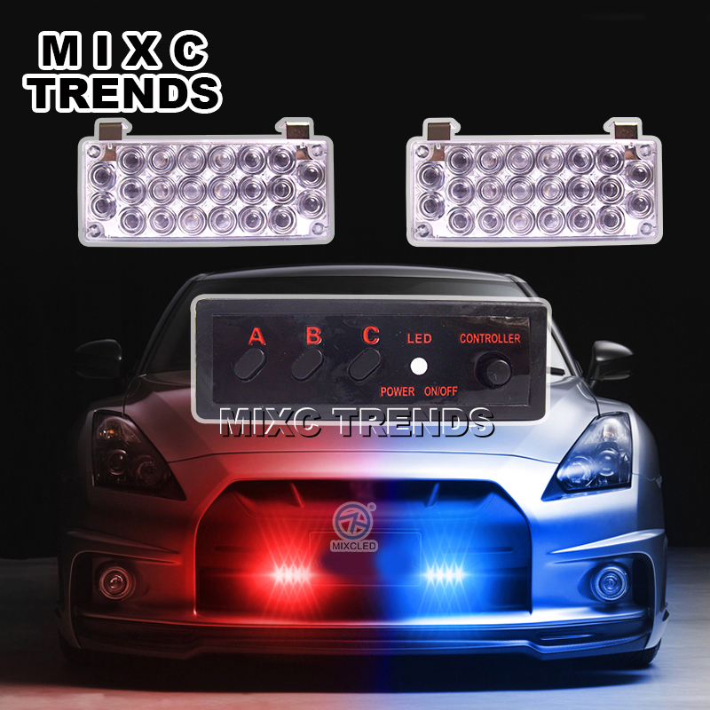 MIXC TRENDS 2X22 Flash LED Light Red Blue Police Beacon Light Emergency Warning Strobe Light for Car(China)