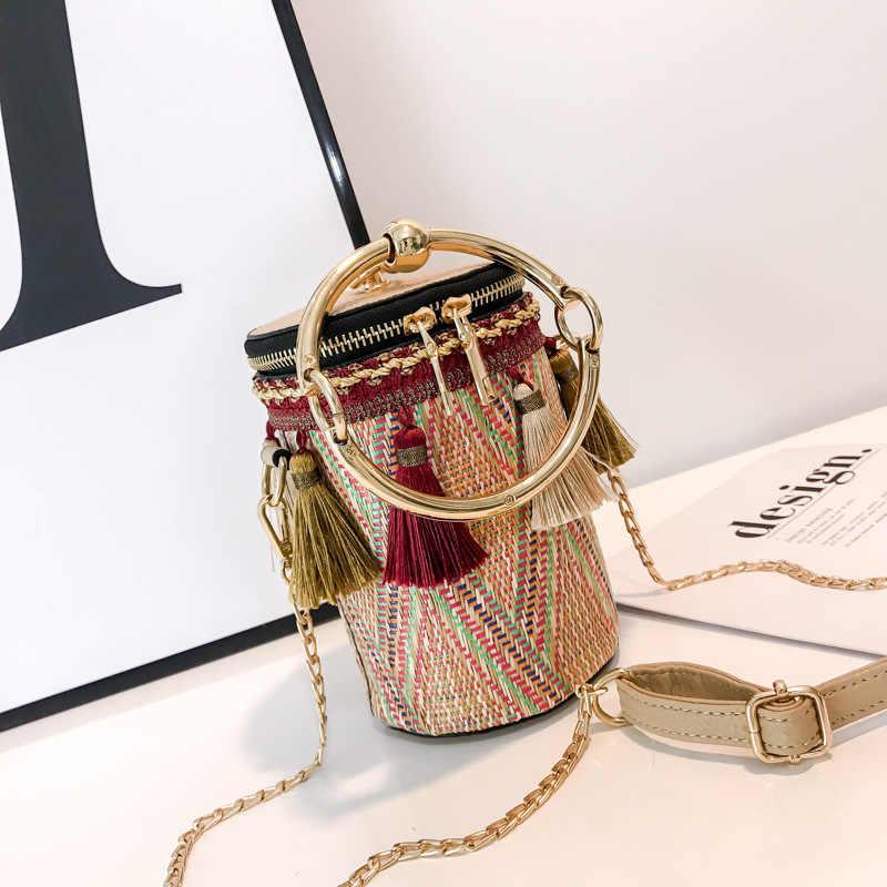 2018 verão sacos de palha rattan tecido praia sacos de ombro mulheres balde senhoras crossbody bolsa feminina boêmio artesanal bolsa
