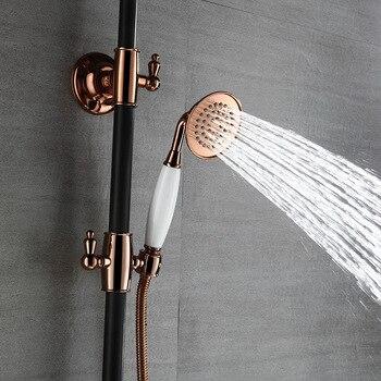 масло втирает бронзовый дождь душ | Роскошный Бронзовый Твердый латунный Смеситель для душа с эффектом потертости, 8 дюймов, для дождя, три функции, верхняя душевая головка + ру...