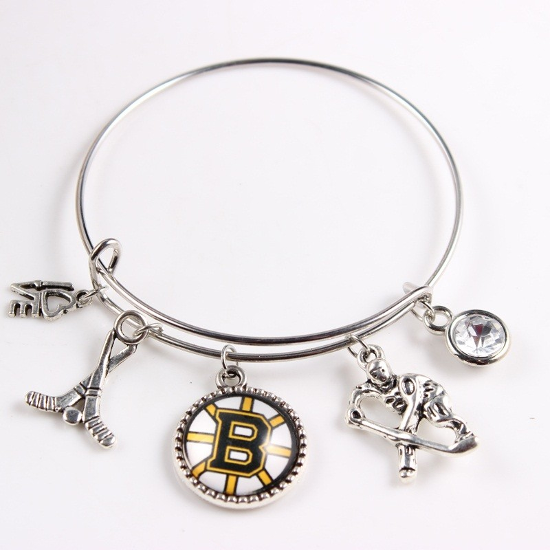 3 Styles Hockey Fans Charm Bracelets Boston Bruins Team Adjustable Wire Bangles Bracelets For Women ...