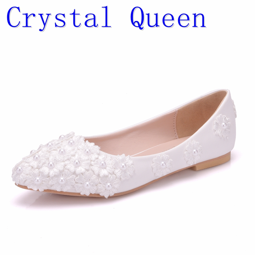 Crystal Queen Ballet Flats White Pearl Lace Wedding Shoes Flat Heel Casual Shoes Pointed Toe Flats Women Wedding Princess Flats 2017 womens spring shoes casual flock pointed toe narrow band string bead ballet flats flat shoes cover heel women flats shoes