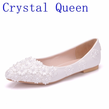 Crystal Queen Ballet Flats White Pearl Lace Wedding Shoes Flat Heel Casual Pointed Toe Women Princess - discount item  30% OFF Women's Shoes