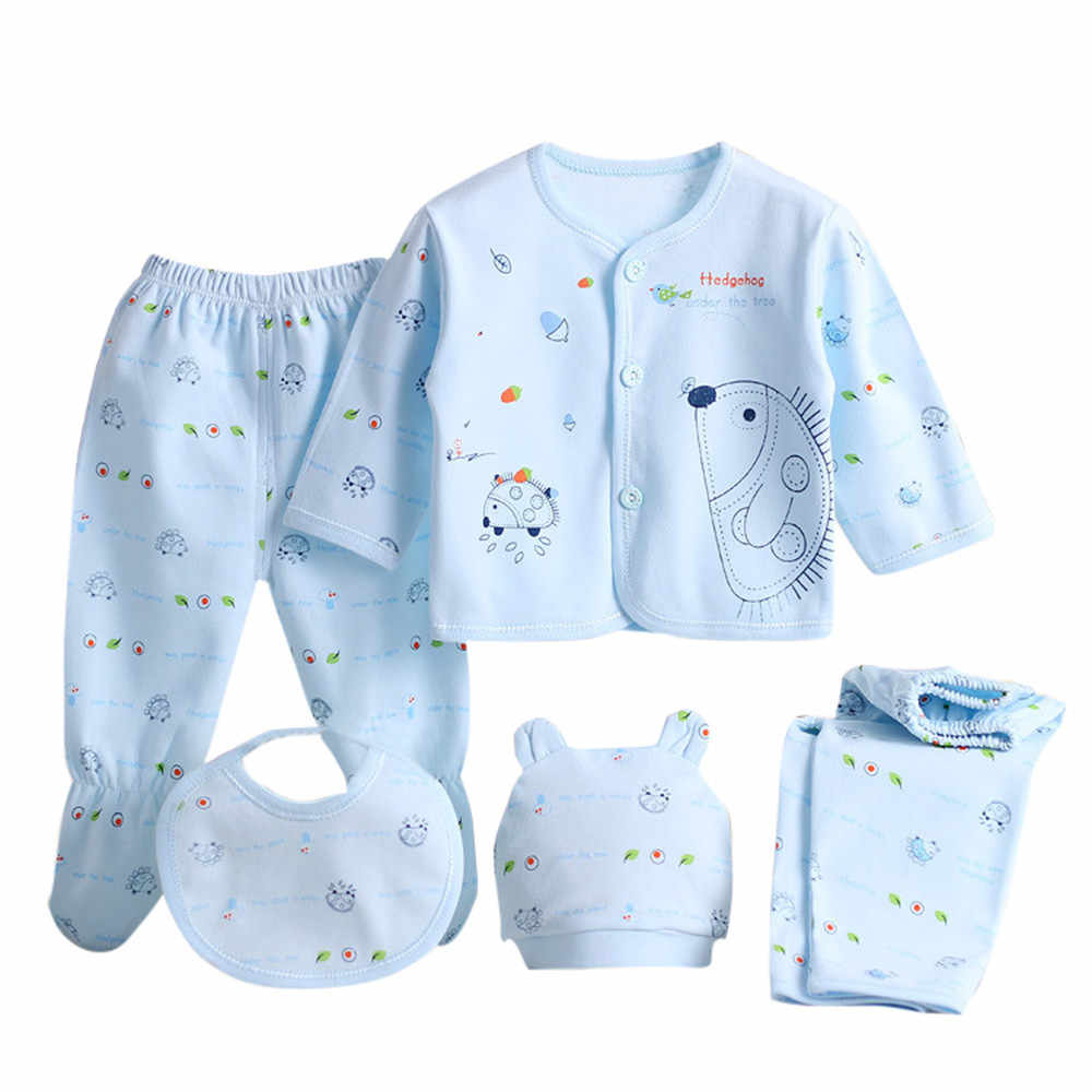 SAGACE Baby Set Newborn 0-3 Months Clothes 5PCS Boy Girl Cartoon Long Sleeve Tops+Hat+Pants +Bib Baby Girl Pajamas Sets