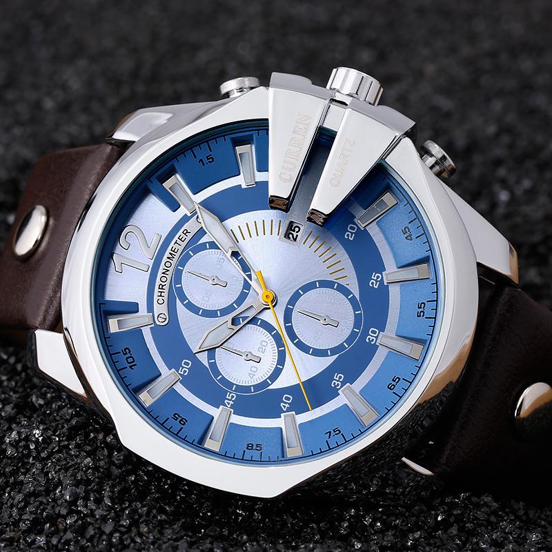 Prix pour Montre Homme 2016 Top De Luxe Populaire Marque Bleu Montres À Quartz Or Montres Hommes Horloge Hommes de CURREN Mâle Montre 8176