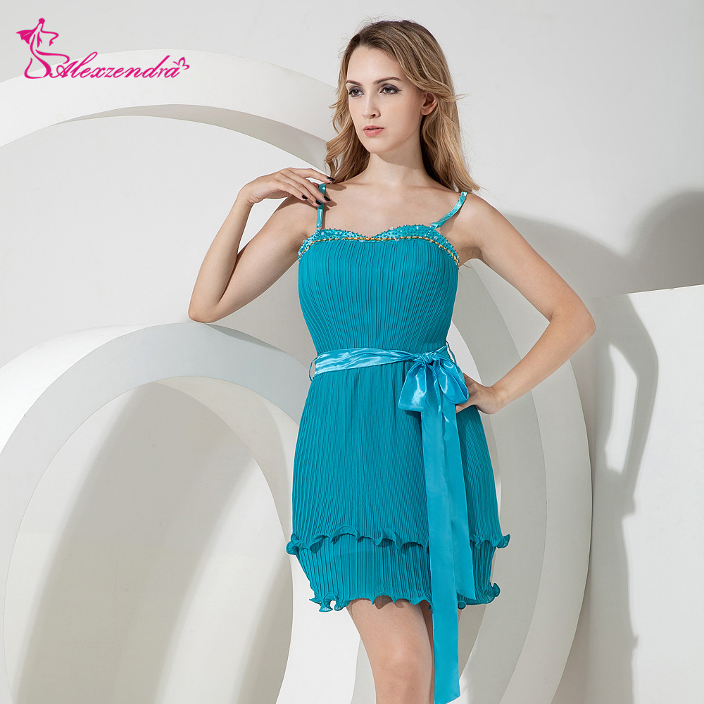 Alexzendra Beads Blue Spaghetti Straps Sash Mini   Prom     Dresses   Customize Special Party Gowns