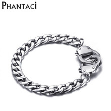 No Fade Cool Men Handcuffs Bracelet Stainless Steel Link Chain Bracelets Jewelry Mens Charm Wrap