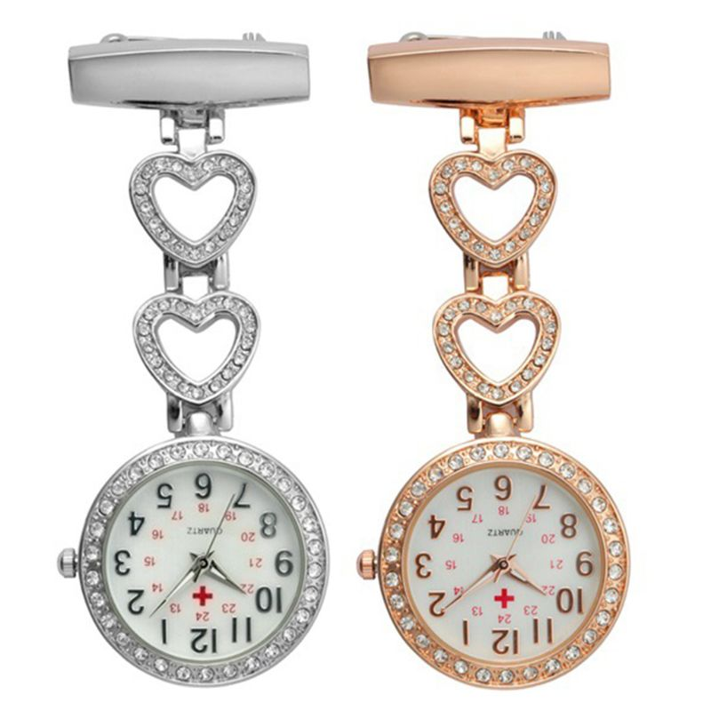 Fashion Women Pocket Watch Clip-on Fob Quartz Brooch Heart Hanging Watch Crystal Clock For Medical Doctor