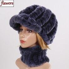 Новые Хорошие эластичные шарфы из натурального меха шапки женские вязаные Настоящий мех кролика шапка шарф набор зимний женский натуральный мех муфельные головные уборы наборы