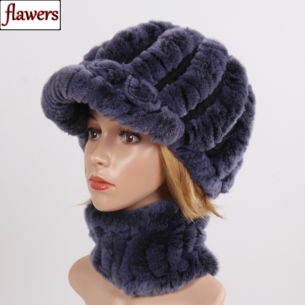 New Good Elastic Genuine Fur Scarves Hats Women Knitted Real Rex Rabbit Fur Hat Scarf Set Winter Lady Real Fur Muffles Hats Sets
