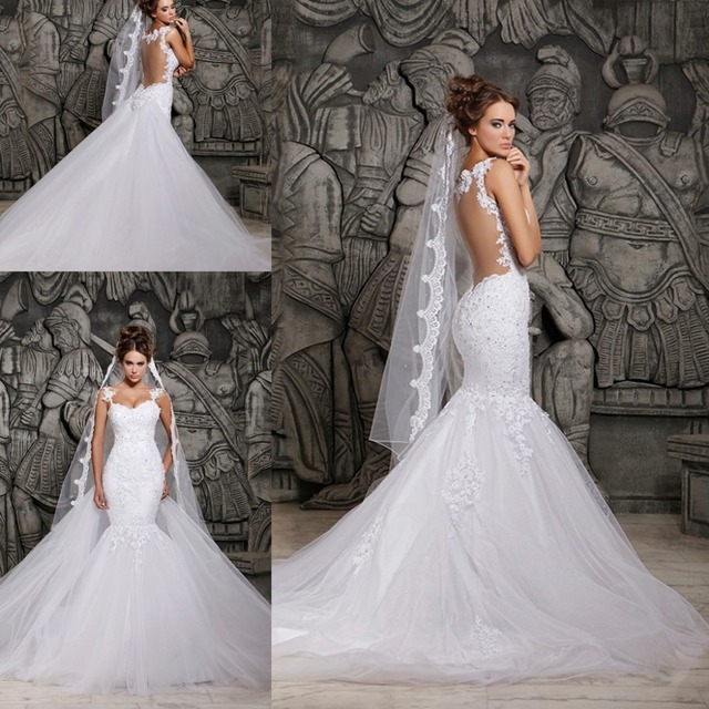 2017 Mermaid Wedding Dress Satin Plus Size Sweetheart Backless Gown With Chapel Train Bridal Dresses Jw084
