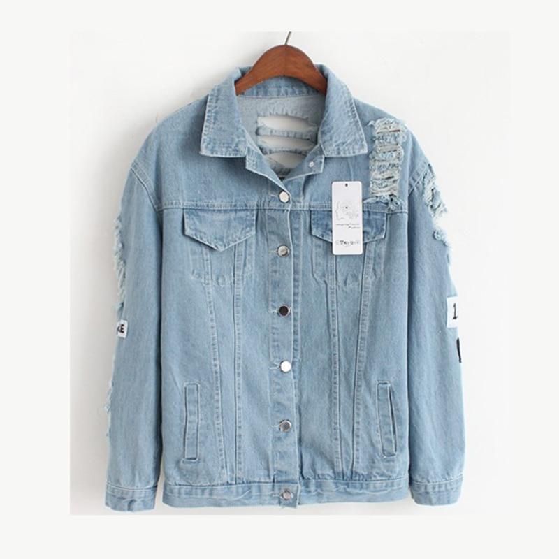 Hole Loose Ladies Denim Basic Jackets Women Outwear Spring Autumn Female Jeans Jacket Woman Casual Spliced Blue Coats MLD1179