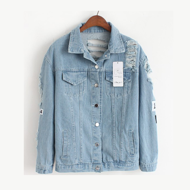 Hole Loose Ladies Denim   Basic     Jackets   Women Outwear Spring Autumn Female Jeans   Jacket   Woman Casual Spliced Blue Coats MLD1179