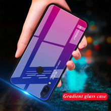 XINDIMAN Gradient tempered glass case for xiaomi redmi note7 note7pro colorful soft TPU cover Note6 6pro Mi A2lite