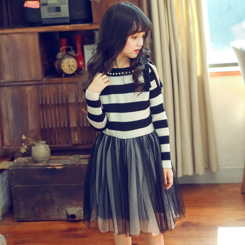 Kids Dresses For Girls Long Sleeve Baby Girl Dress Mesh Striped Party Dress Autumn Winter 2-12Y Children Clothes телевизор lg 43lw340c