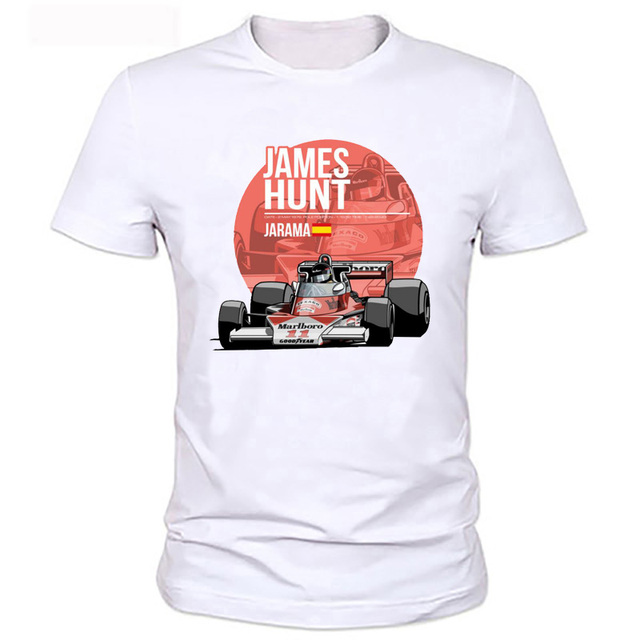 2017 novos homens verão plus size clothing casual f1 car styling James Hunt Impresso T Shirt Da Forma Da Novidade de Manga Curta Tee Tops