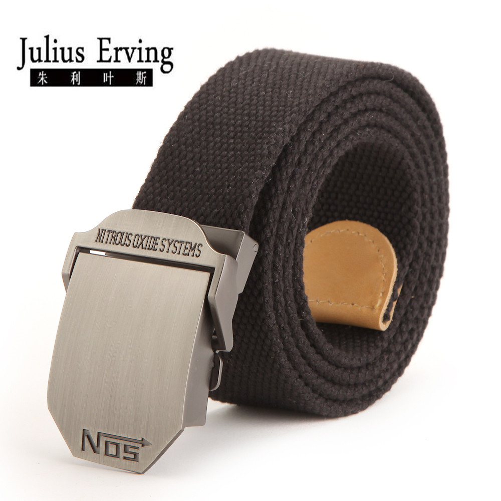 Julius Erving 2017 Wide Waist Belt No 5 Smooth Buckle Canvas Belt Heren Designer 120cm Groot formaat Military Black Belt voor heren