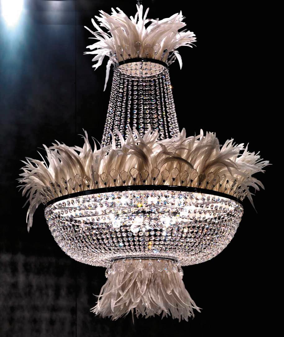 Luxury feather light 2014 baccarat pendant lights art lamp crystal ...
