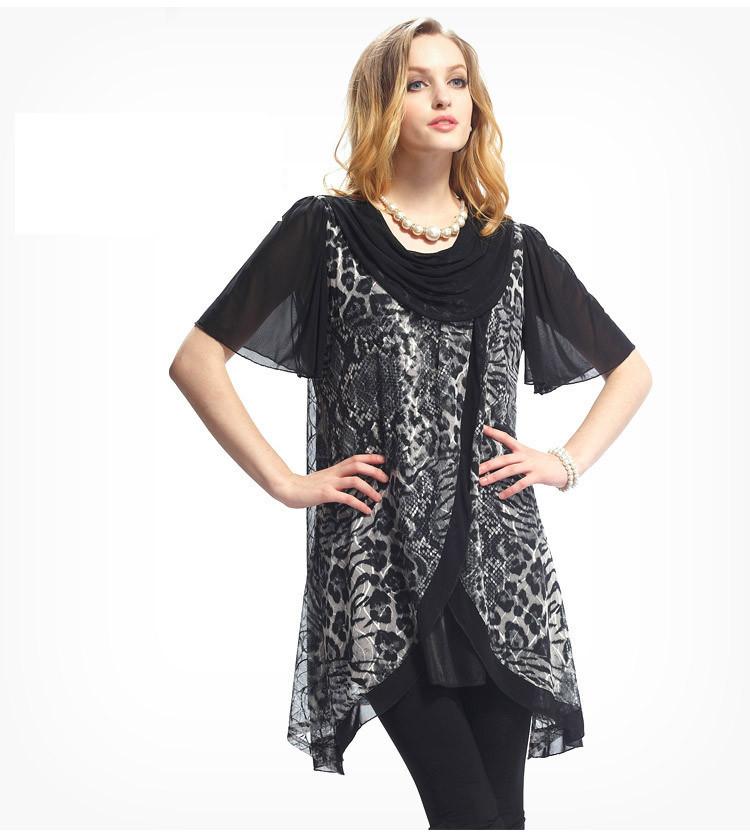 Leopard Animal Print Summer Style Swing Dresses Women Plus size ...