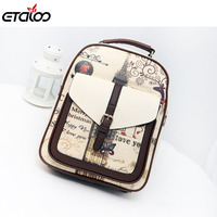Fashion Printing Students School Bags Women Backpacks High Quality Pu Leather Backpack