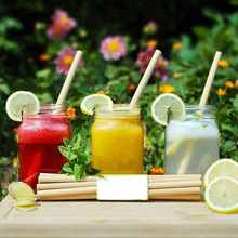10pcs Reusable Straws With Cleaner Brush Set Portable Natural Organic Bamboo Drinking  Eco Friendly Bubble Tea Straw Bag