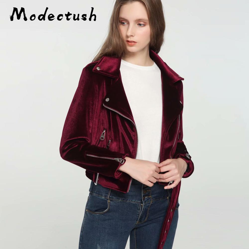 Modecrush New Women Outerwear Wine Red Short Velvet Motorcycle Jacket 2019 Autumn Ladies Retro Vintage Zipper Jackets and Coats