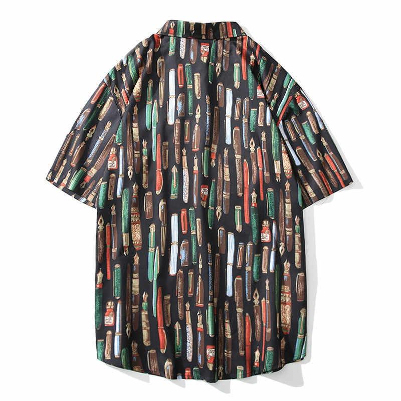 OSCN7 2019 カジュアルプリント半袖シャツ男性ストリート夏ハワイビーチ女性のファッションルーズ半袖シャツメンズ 3815