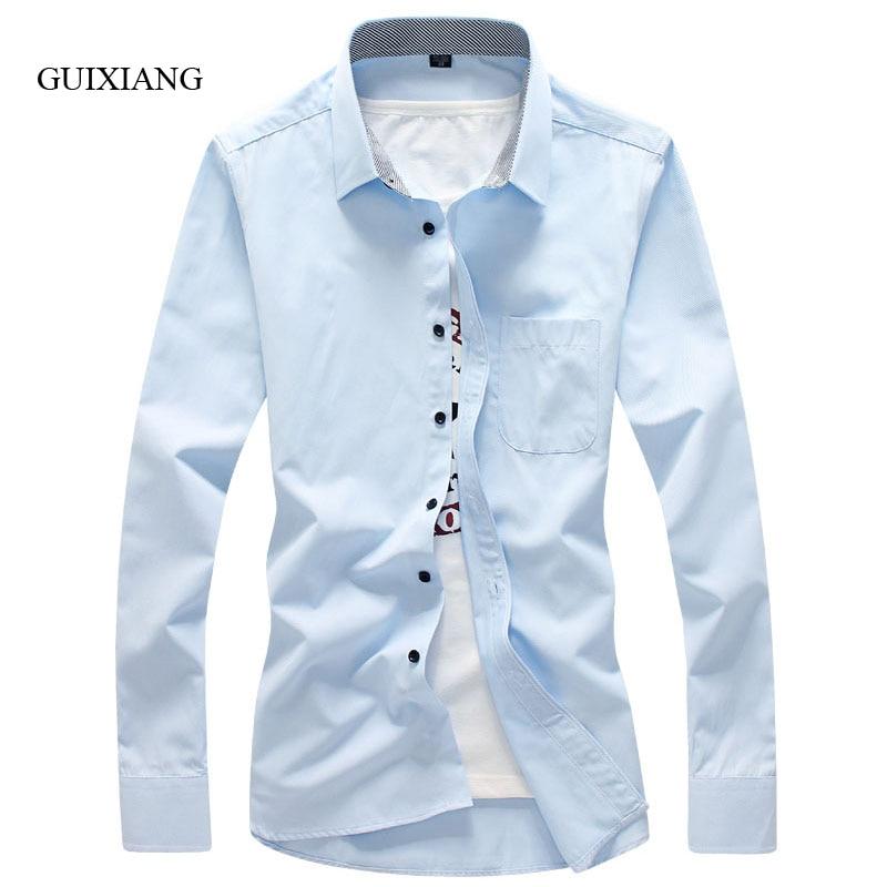 2017 새로운 arrivel 여름 스타일의 남성 긴 소매 셔츠 패션 캐주얼 솔리드 스트 라이프 남성 코튼 슬림 긴 셔츠 큰 사이즈 M-5XL