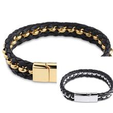 2015 Fashion New Black Genuine Leather Bracelet 316L Stainless Steel Gold/Silver Men Jewelry Leather Men's Rock Chunky Bracelets