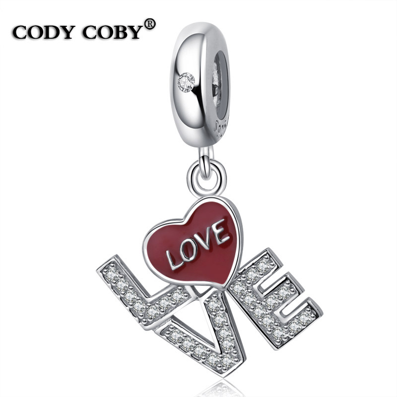 925 Sterling Silve I Love You Charms Red Enamel Letters Beads Fit Pandora Bracelet berloque prata 925 Jewelry For Women Gift