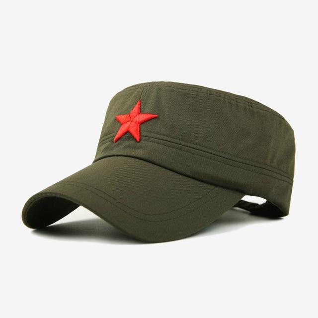 COKK Tampão Militar Estrela Vermelha Bordado Cap Chapéu Militar Do Exército  Verde Osso Plana Chapéus para b736afc22bf