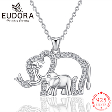 Eudora 2019 Real 925 Sterling Silver Animal Elephant Pendant Necklaces Fashion Silver Jewelry for Women Girls Romantic Gift