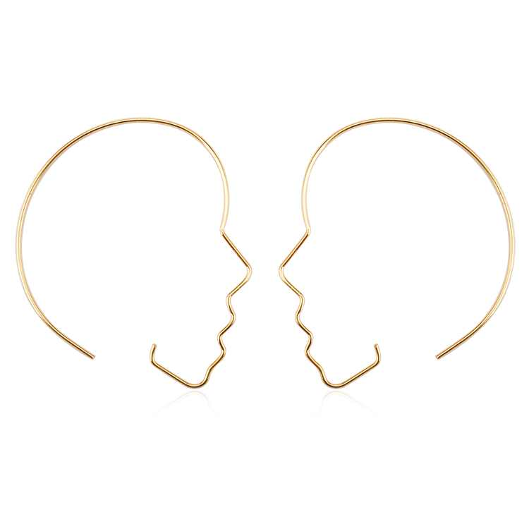 Punk Human Face Earrings For Women Retro Abstract Hollow out Statement Hand Metal Fashion  Earring Jewelry