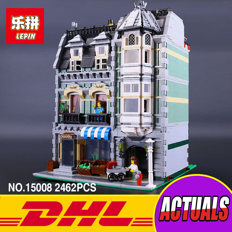 Lepin 15008 2462Pcs City Street Green Grocer Model Building Kits Blocks Bricks Compatible Educational toys 10185 lepin 15009 city street pet shop model building kid blocks bricks assembling toys compatible 10218 educational toy funny gift