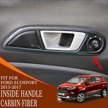car Interior inside door handle cover trim carbon fiber mahogany ABS plastic accessory interior for ford ecosport 2013-2017