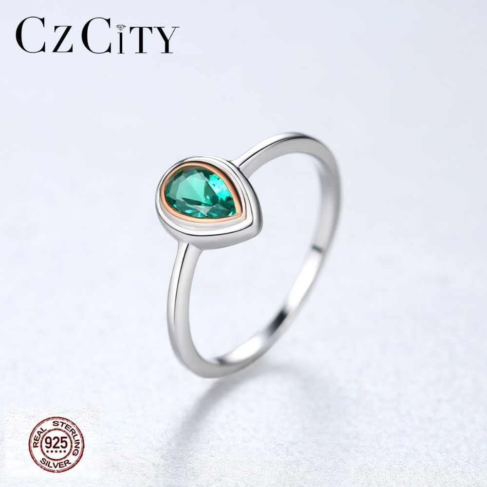 CZCITY Pure 925 Sterling Silver Water Drop Rings for Women Engagement Round Green Fashion Jewelry Charming Vintage Anillos Mujer