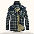 Brand Plaid Long Sleeve Shirts Men 2016 Autumn Winter Top Quality Patchwork Design Man Shirt Casual Slim Fit Hombre Camisas XXXL