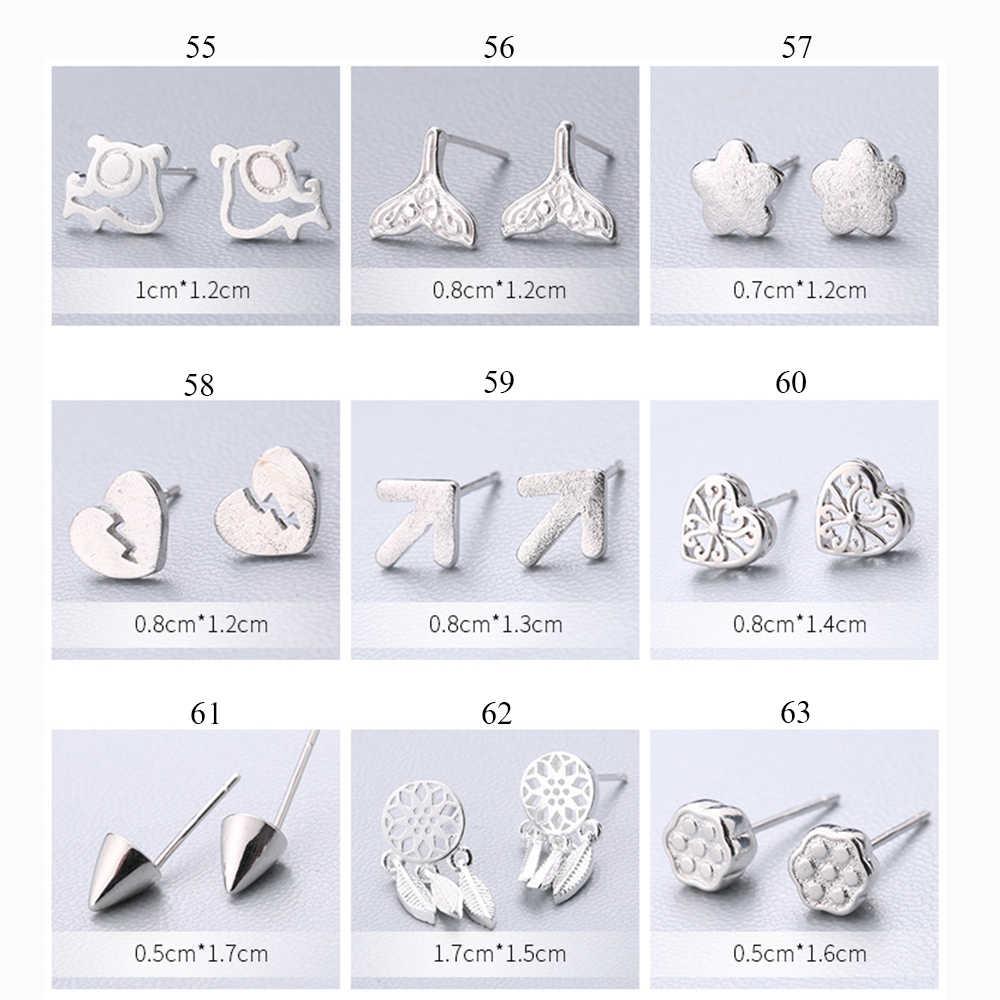 XIYANIKE ホット販売かわいい動物スタッドピアス 925 スターリングシルバー耳針シンプルなファッションジオメトリ女性のギフト 55 -72