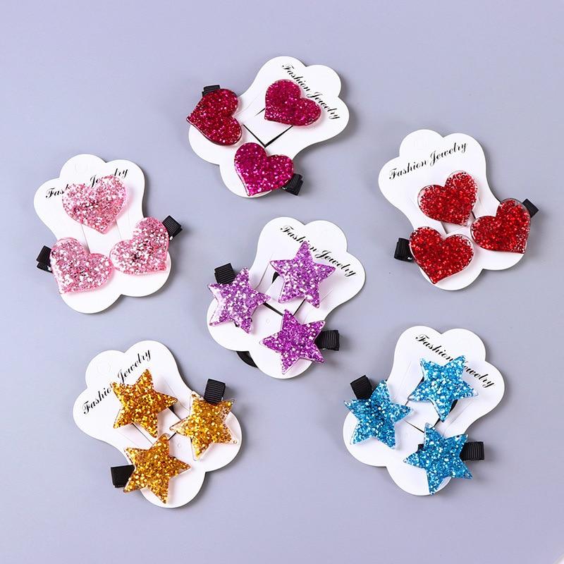 3PCS/Set  Fashion  Love Hair Clips Safety Elastic Hair Band Cute Headwear Acrylic Colorful Children Girls Gift Star Kids
