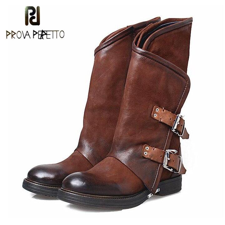Prova Perfetto осень зима Новый Пояса из натуральной кожи на низком каблуке Для женщин до середины икры Сапоги и ботинки для девочек круглый носок