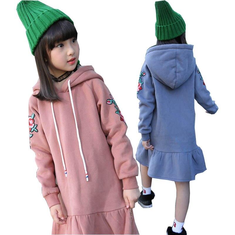girls thicken dresses 2017 autumn winter hooded Mermaid dress fleece warm girls dress kids clothes long children flower dress