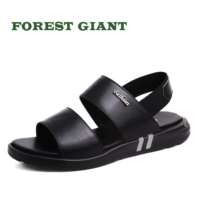 FOREST GIANT Genuine Leather Summer Soft Male Sandals Shoes For Men Breathable Light Beach Casual Quality Walking Sandal 2182