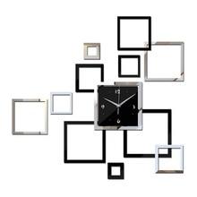 Creative Wall Clock Square 3D DIY Clocks Home Decoration Watch Horloge Murale Quartz Acrylic Mirror Stickers for Living Room