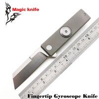 MAGIC Titanium Alloy Finger Tip Gyro D2 Steel Folding Knife Outdoor Knife TC4 Bearing Camping Knife
