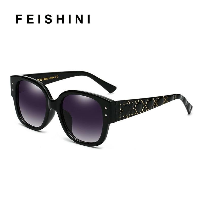 FEISHINI Qualidade Quadrado Óculos De Sol Das Mulheres Marca de Luxo  Designer de Óculos de Sol 58b3e4919f