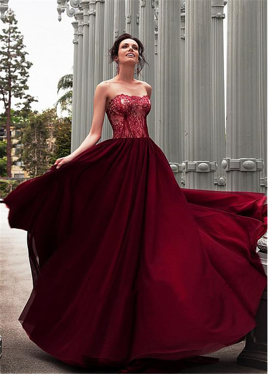 Burgundy Chiffon Sweetheart A-line Pleat Wedding Dress Dubai Arabic Sofuge Gelinlik 2019 Boho Suknia Slubna